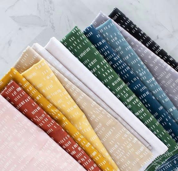 Whiskers and Dash by Sarah Golden for Andover Fabrics - Fat Quarter of Dash in All 12 Colours