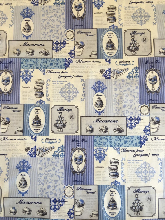 Japanese cotton fat quarter by Yuwa - Macaron Recipes in blue