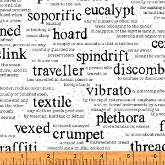 Wordplay by Sarah Fielke for Windham Fabrics - Vocabulary in White - Fat Quarter