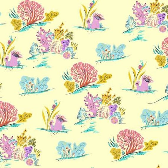 Malibu by Heather Ross -- Fat quarter of Surf Coral in Blue - 52147-10