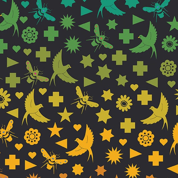 Art Theory by Alison Glass -- Fat quarter of Seventy Six Bird & Bee in Night