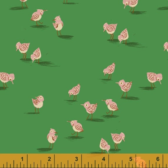 Malibu by Heather Ross -- Fat quarter of Piper in Green - 52149-11