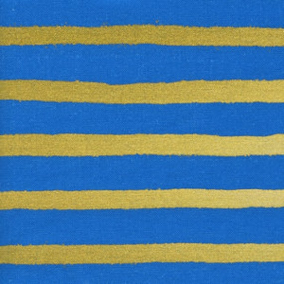 Wonderland --Cheshire Stripe in Cobalt Metallic by Rifle Paper Company for Cotton and Steel