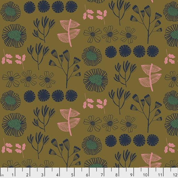 After the Rain by Bookhou for Anna Maria Horner Conservatory Chapter 3 with Free Spirit Fabrics- Fat Quarter of Inventory in Gold