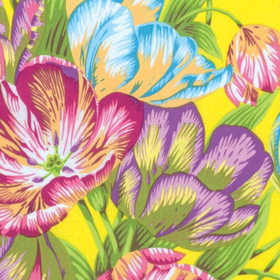 Kaffe Fassett Collective  -- Fat Quarter of Philip Jacobs Tulip Extravaganza in Yellow