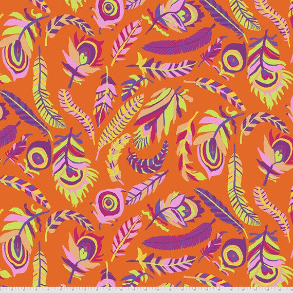 Kaffe Fassett Collective August 2021 -- Fat Quarter of Brandon Mably Tickle My Heart in Orange