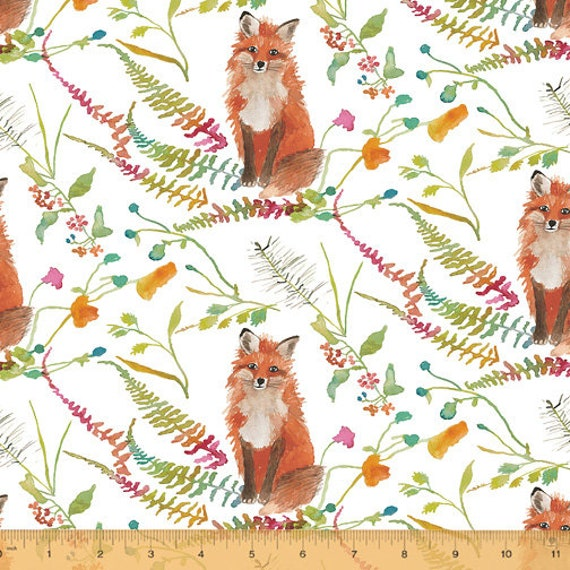 Fox Wood by Betsy Olmsted for Windham Fabrics - Fat Quarter of 51919-1 Foxes in White