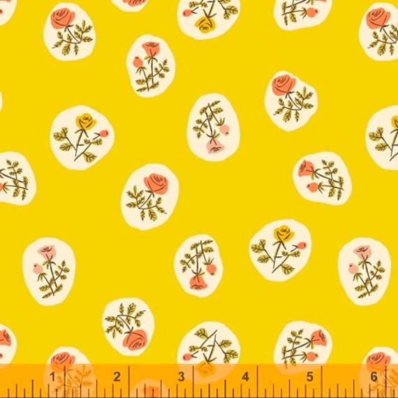 Heather Ross 20th Anniversary Collection for Windham Fabrics - Fat Quarter of Small Roses in Yellow