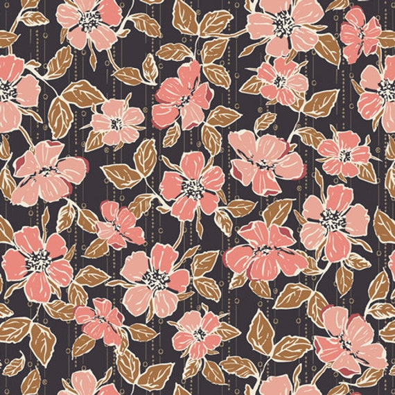 Homebody by Maureen Cracknell for Art Gallery Fabrics - Crafted Blooms Cacao