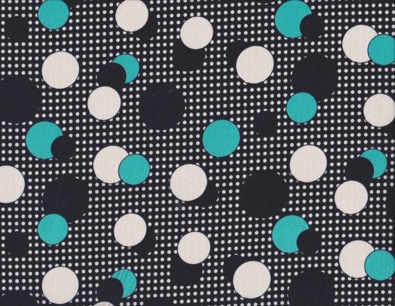 Daiwabo Junko Matsuda fat quarter -- Modern & Bright Collection-- Dots in Black and Aqua