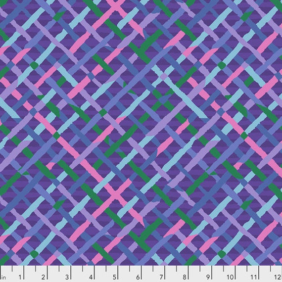 Kaffe Fassett Collective February 2020 -- Fat Quarter of Brandon Mably Mad Plaid in Plum