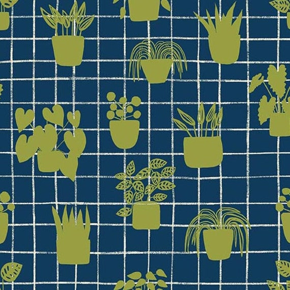 Home by Sarah Golden for Andover Fabrics - Fat Quarter of House Plants in Cobalt -- Cotton
