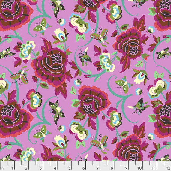 Amy Butler Natural Beauty -- Fat Quarter of Field Folly in Berry