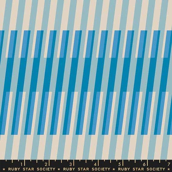 Clementine Fruity Stripes in Bright Blue (RS000825) by Ruby Star Society for Moda -- Fat Quarter