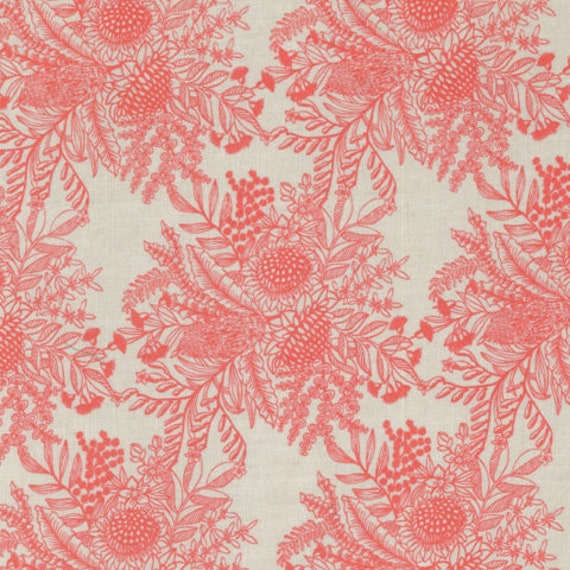 Ella's Backings- Botanical in Coral - 25 cm Increment