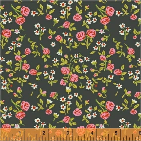 Heather Ross Trixie for Windham Fabrics - Fat Quarter Floral in Dark Green