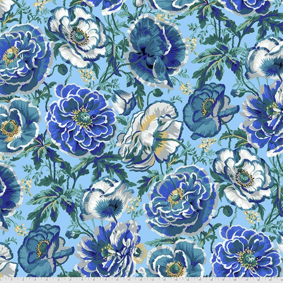 Kaffe Fassett Collective August 2021 -- Fat Quarter of Philip Jacobs Dorothy in Blue