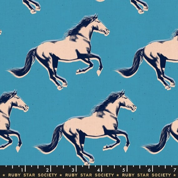 Darlings -- Broncos in Vintage Blue (RS5013-18) by Ruby Star Society for Moda -- Fat Quarter