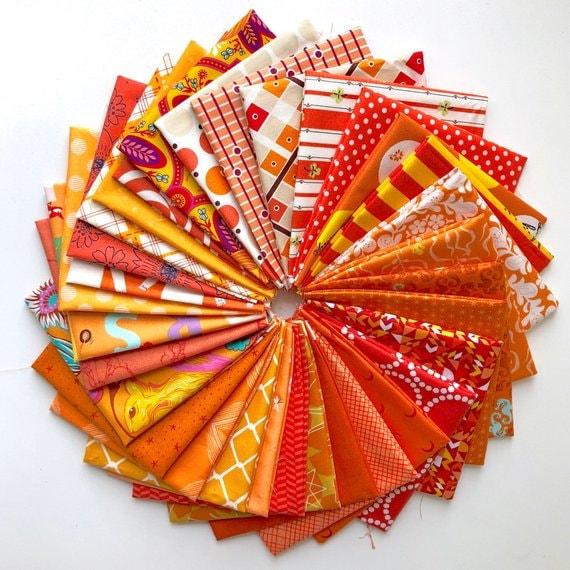 Colour Stash Builders Fat 8ths in Orange- 32 (Four Metres)