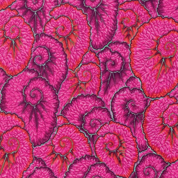 Kaffe Fassett Collective  -- Fat Quarter of Philip Jacobs Horse Curlique in Pink