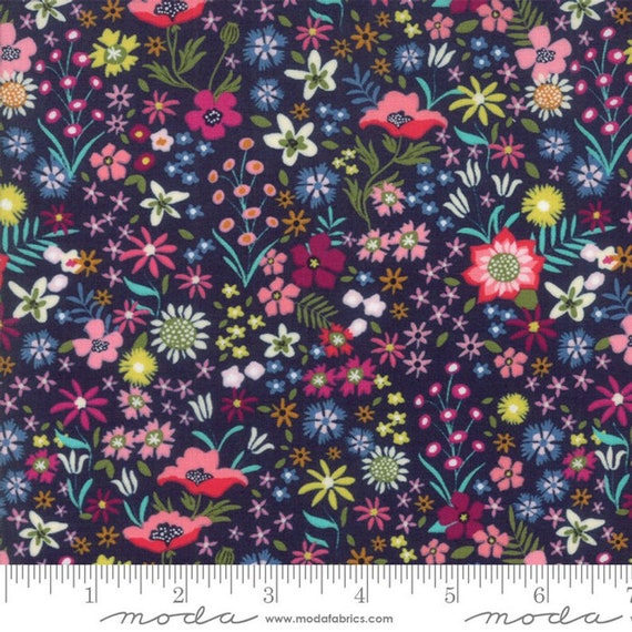 Moda Rosa in Prussian Blue (1182217) by Crystal Manning -- Fat Quarter