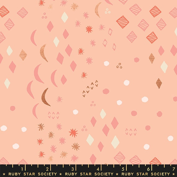 First Light Moonrise in Peach Blossom Metallic  (RS051-13M) by Ruby Star Society for Moda -- Fat Quarter