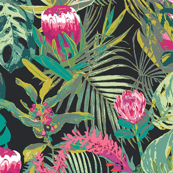 Art Gallery Tropicalia Dark in Rayon - Purchase in 25cm Increments