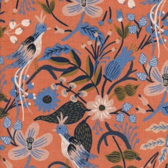 Folk Birds CANVAS in Peach of Les Fleurs by Rifle Paper Company for Cotton and Steel