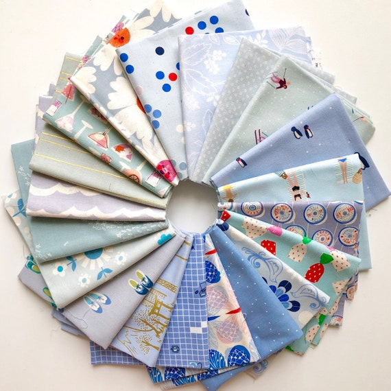 Cotton and Steel bundle of 20 blue fabrics as shown in photo