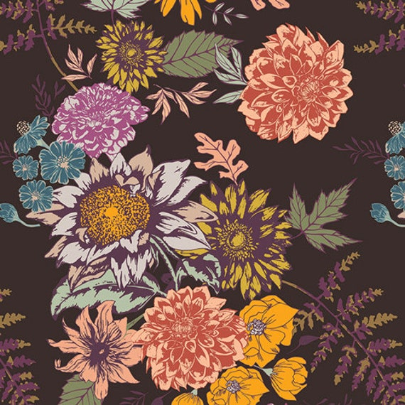 Autumn Vibes by Maureen Cracknell for Art Gallery Fabrics - Floral Glow in Cocoa