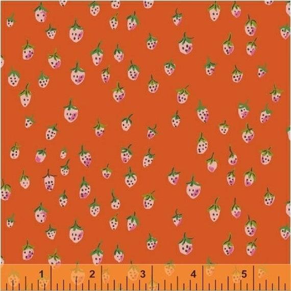 Heather Ross Trixie for Windham Fabrics - Fat Quarter Field Strawberries in Orange