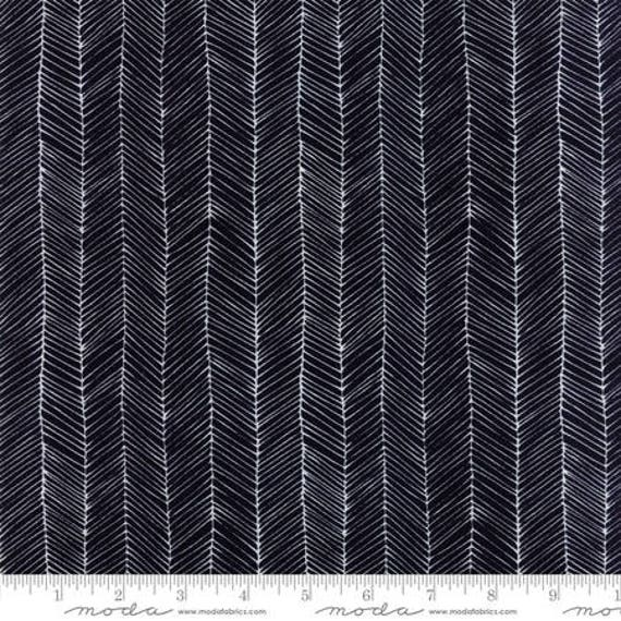 Moda Catnip Kitten Lines in Black (4823414) by Zen Chic -- Fat Quarter