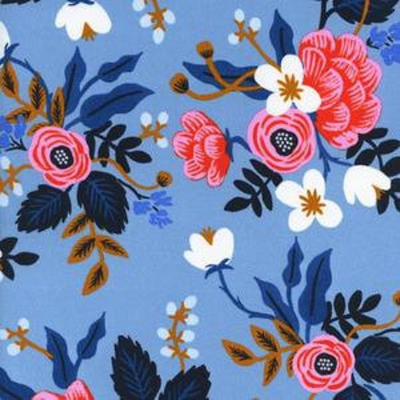 Birch in Periwinkle of Les Fleurs by Rifle Paper Company for Cotton and Steel