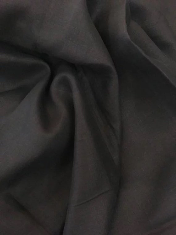Rossini Linen in Black - Purchase in 50cm Increments