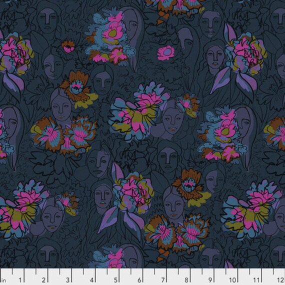 Long Distance by Courtney Cerruti for Anna Maria Horner Conservatory with Free Spirit Fabrics - Fat Quarter of Parlant Aux Fleurs in Iris