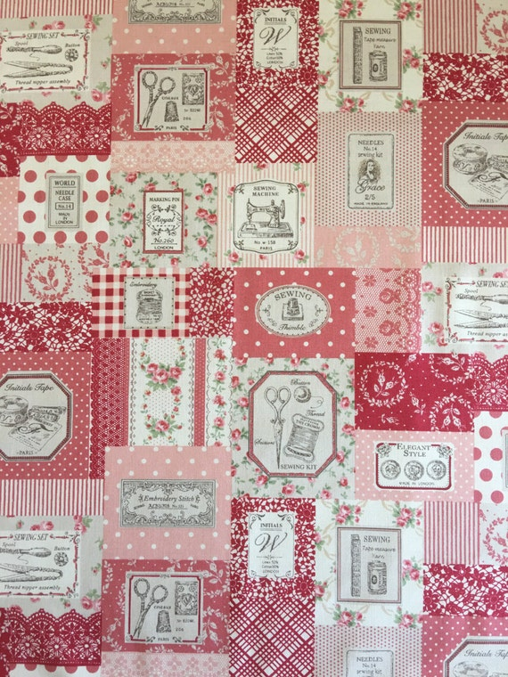 Japanese cotton fat quarter by Yuwa - sewing theme in dark pink