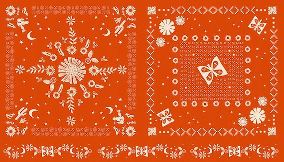"Ruby Star Golden Hour Collection - Panel in Warm Red by Alexia Marcelle Abegg for MODA Fabrics - 24"" x 44"" panel - 100% Cotton - RS4022-15"