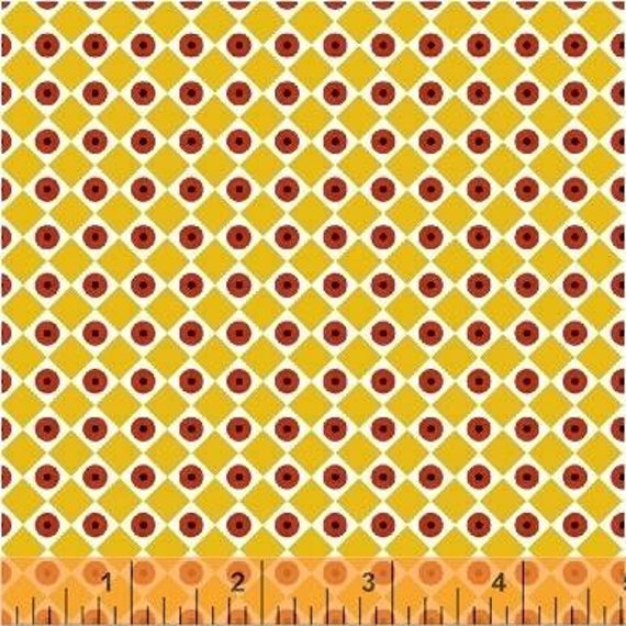 Uppercase Volume 2 by Janine Vangool for Windham Fabrics - Dot the Eyes in Yellow - Fat Quarter