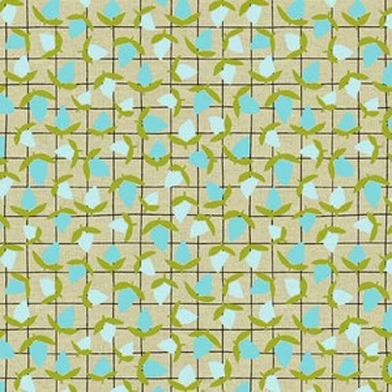 Tiger Plant by Sarah Golden for Andover Fabrics - Flower Buds in Minty Fresh -- Cotton/Linen - Fat Quarter