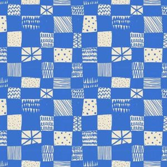 In Stock! Printshop Grid in Blue by Alexia Marcell Abegg for Cotton and Steel