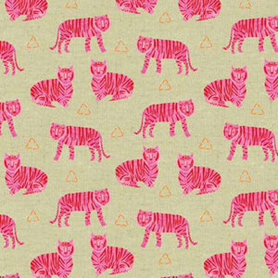 Tiger Plant by Sarah Golden for Andover Fabrics - Tigers in Fuchsia -- Cotton/Linen - Fat Quarter