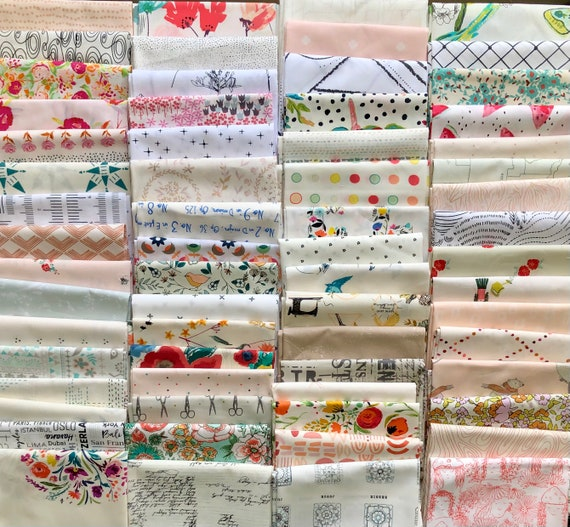 Fat 16th of various low volume Art Gallery fabrics exactly as the ones shown in photo (64 n total)