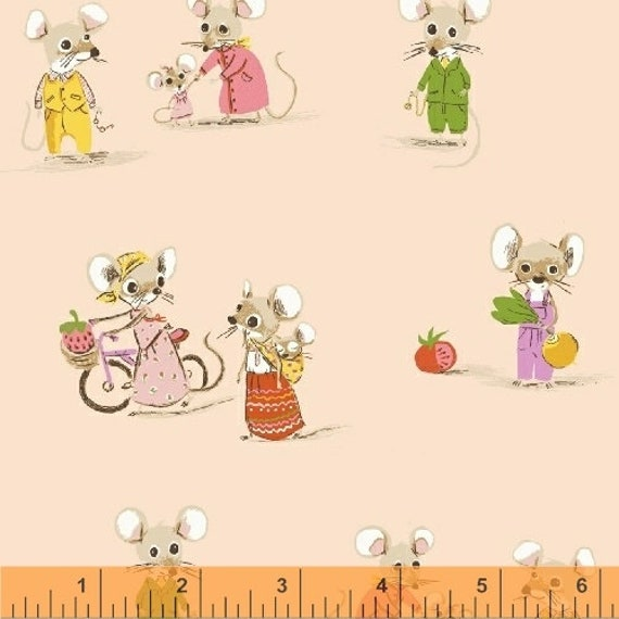 Heather Ross Trixie for Windham Fabrics - Fat Quarter City Mouse in Blush