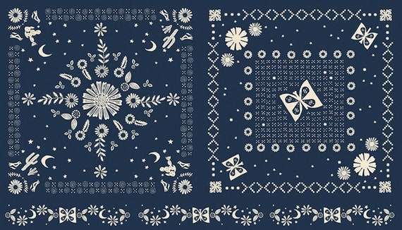 "Ruby Star Golden Hour Collection - Panel in Navy by Alexia Marcelle Abegg for MODA Fabrics - 24"" x 44"" panel - 100% Cotton - RS4022-12"