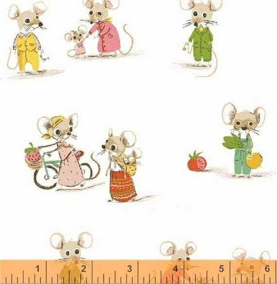Heather Ross Trixie for Windham Fabrics - Fat Quarter City Mouse in White