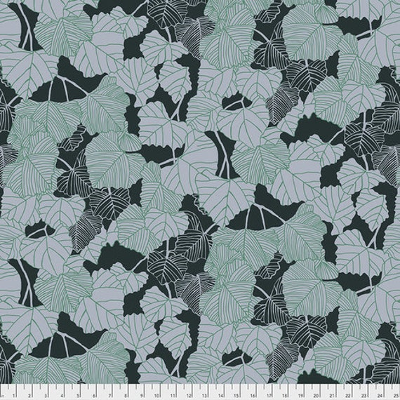 After the Rain by Bookhou for Anna Maria Horner Conservatory Chapter 3 with Free Spirit Fabrics- Fat Quarter of Shadow in Emerald
