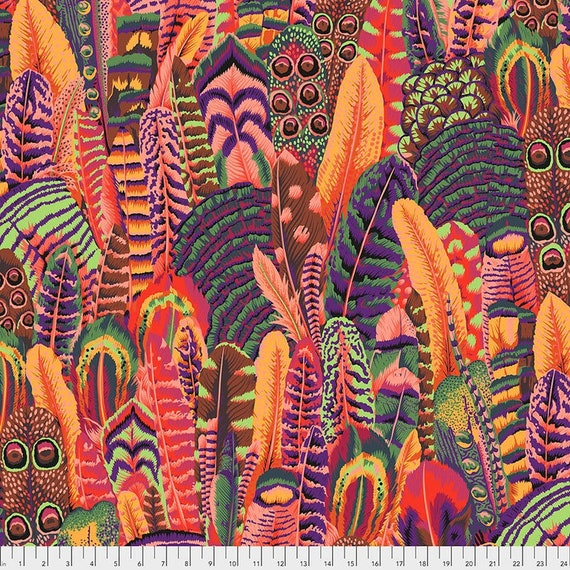 Kaffe Fassett Collective February 2021 -- Fat Quarter of Philip Jacobs Feathers in Summer