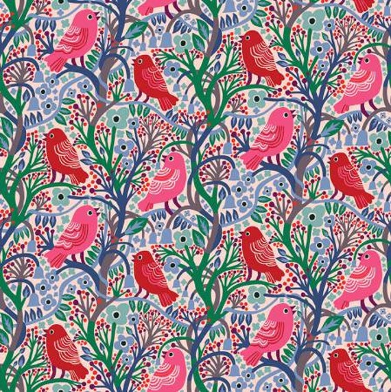 Savernake Road by Monkia Forsberg for Anna Maria Horner Conservatory with Free Spirit Fabrics - Fat Quarter Rona in Red