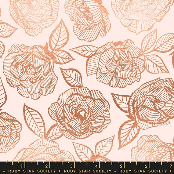 First Light Floral Lace in Ballet Metallic  (RS049-14M) by Ruby Star Society for Moda -- Fat Quarter