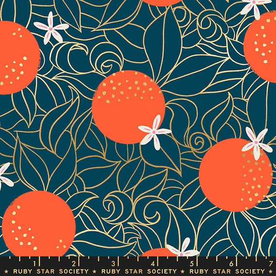 Florida Shade Orange Blossoms in Peacock RS2025 14M by Sarah Watts -Ruby Star Society - Fat Quarter